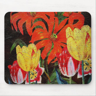 Bright Orange Botanical Vintage Oil Painting Mouse Pad