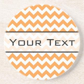 Bright Orange Chevrons - Custom Text Coaster