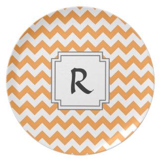 Bright Orange Chevrons - Custom Text Plate