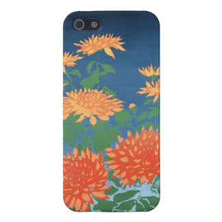 Bright Orange Chrysanthemums on Blue Cover For iPhone 5/5S
