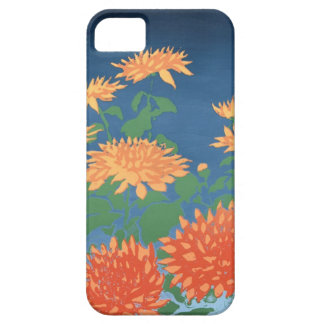 Bright Orange Chrysanthemums on Deep Blue Case For The iPhone 5