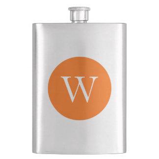 Bright Orange Circle Monogram Flask