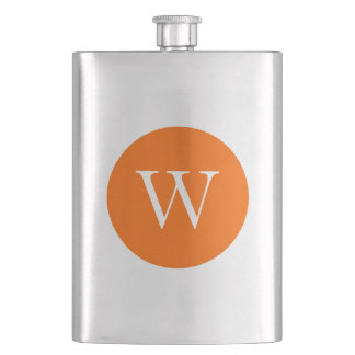 Bright Orange Circle Monogram Hip Flask