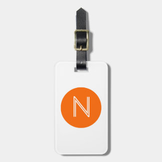 Bright Orange Circle Monogram Luggage Tag