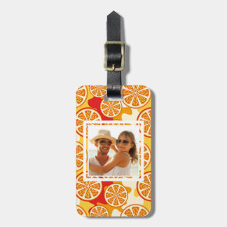 Bright Orange Citrus Pattern | Add Your Photo Luggage Tag