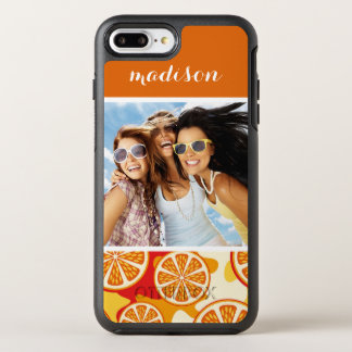 Bright Orange Citrus Pattern | Add Your Photo OtterBox Symmetry iPhone 8 Plus/7 Plus Case