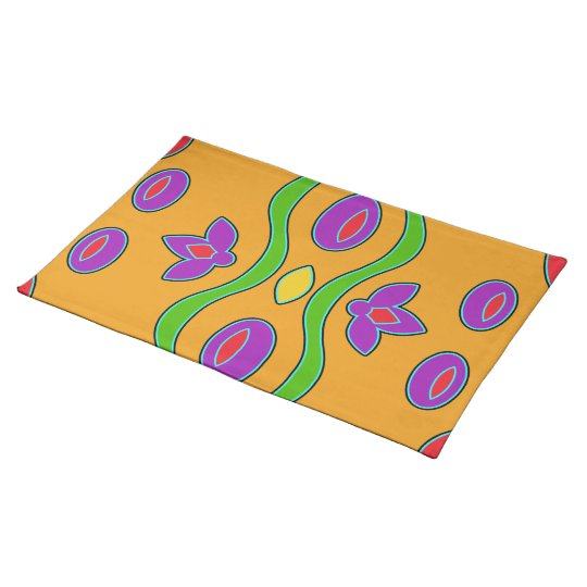 Bright Orange Colourful Funky Abstract Placemat