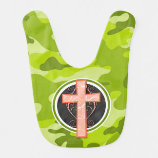 Bright Orange Cross; green camo, camouflage Baby Bib