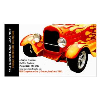 Bright Orange Flames Restored Vintage Auto Business Card Templates