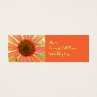 Bright Orange Floral Advertisement Mini Business Card