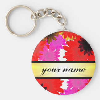 Bright orange floral basic round button key ring