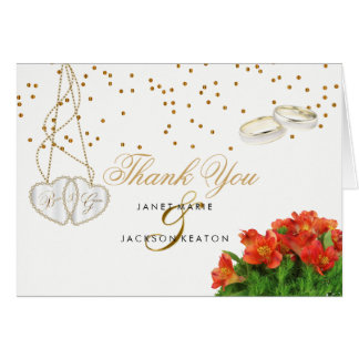 Bright Orange Floral - Thank You Card
