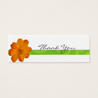 Bright Orange Floral Thank You Note Mini Business Card