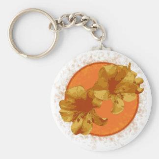 Bright Orange Flower Basic Round Button Key Ring