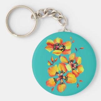 Bright Orange Flowers - Aqua Key Ring