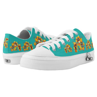 Bright Orange Flowers - Aqua Low Tops