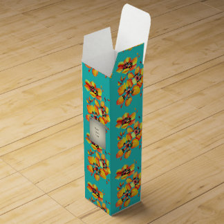 Bright Orange Flowers - Aqua Wine Gift Box