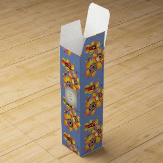 Bright Orange Flowers - Blue Grey Wine Gift Box