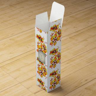 Bright Orange Flowers Wine Box