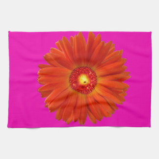Bright Orange Gerbera Daisy on Hot Pink Tea Towel