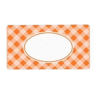 Bright Orange Gingham Labels