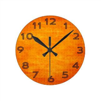 Bright Orange Grungy Light Background Round Wall Clock