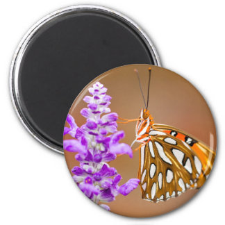 Bright Orange Gulf Fritillary Butterfly 6 Cm Round Magnet