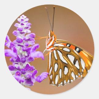 Bright Orange Gulf Fritillary Butterfly Round Sticker
