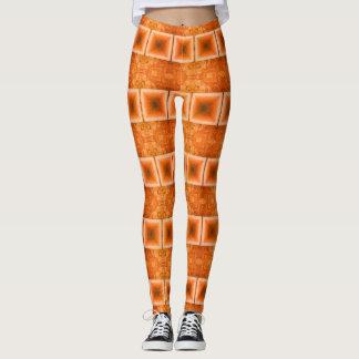 Bright Orange Horizontal Stripes Leggings