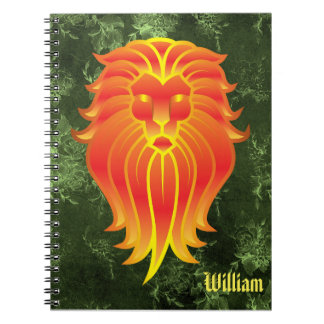 Bright Orange Lion on Green Jungle Background Notebooks