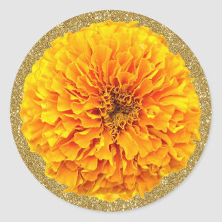 Bright Orange Marigold Gold Glitter Stickers