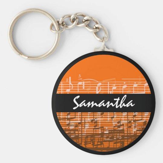 Bright orange music notes customisable keychain