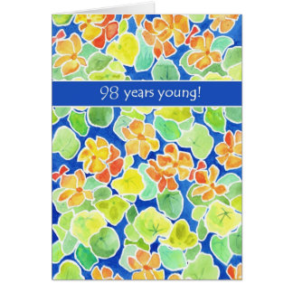 Bright Orange Nasturtiums Floral 98th Birthday Card