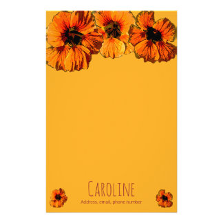 Bright orange nasturtiums - personalised stationery