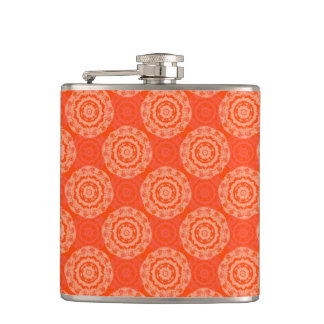 Bright Orange Pattern with Floral Circle Pattern Flasks