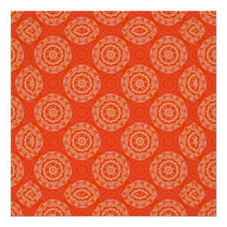 Bright Orange Pattern with Floral Circle Pattern Poster