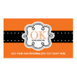 Bright Orange Personalised Initials Any Occupation Pack Of Standard Business Cards