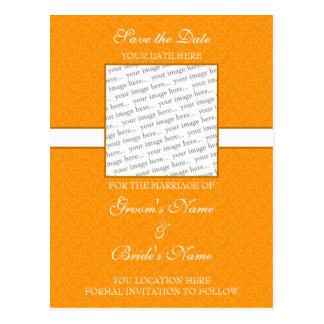 Bright Orange Save the Date Postcard