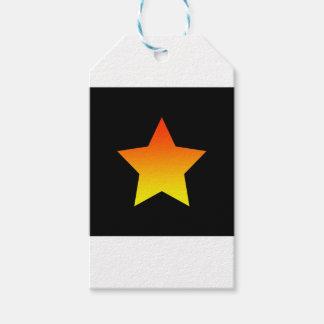 Bright orange star on black. gift tags