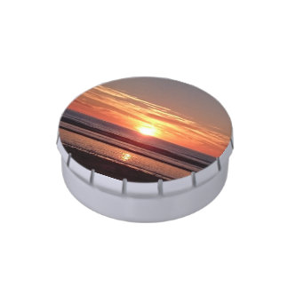 Bright orange sunny sunset seaside view candy tins
