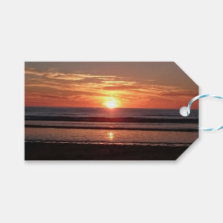 Bright orange sunny sunset seaside view gift tags