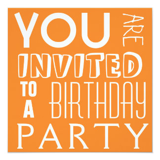 Bright Orange Teen Birthday Party Typography Card