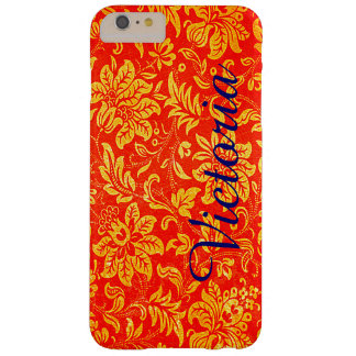 Bright Orange Victorian Flower Pattern Barely There iPhone 6 Plus Case
