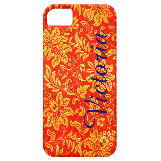Bright Orange Victorian Flower Pattern Case For The iPhone 5