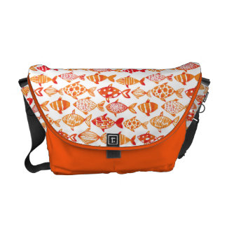 Bright Orange Watercolor Fish Pattern Commuter Bags