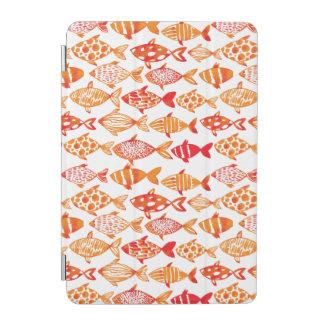 Bright Orange Watercolor Fish Pattern iPad Mini Cover