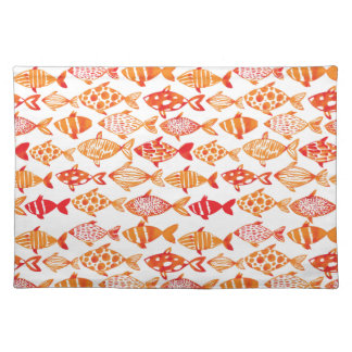 Bright Orange Watercolor Fish Pattern Placemat