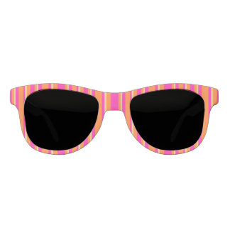 Bright Orange Yellow and Hot Pink Striped Pattern Sunglasses