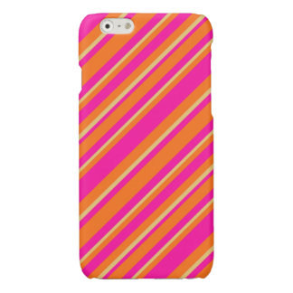 Bright Orange Yellow and Pink Striped Pattern iPhone 6 Plus Case