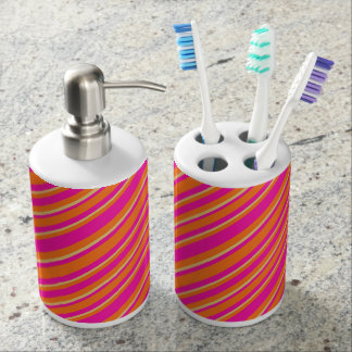 Bright Orange Yellow and Pink Striped Pattern Soap Dispenser And Toothbrush Holder